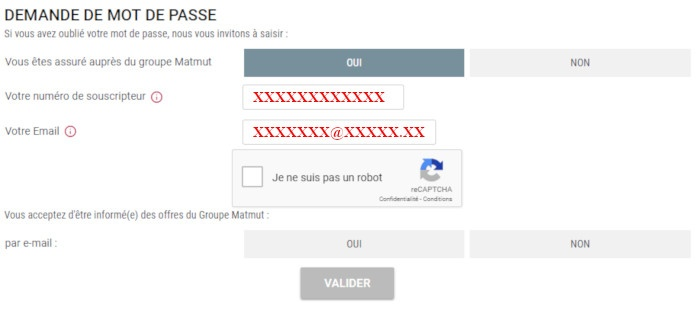 réinitialisation mot de passe Ociane mutuelle