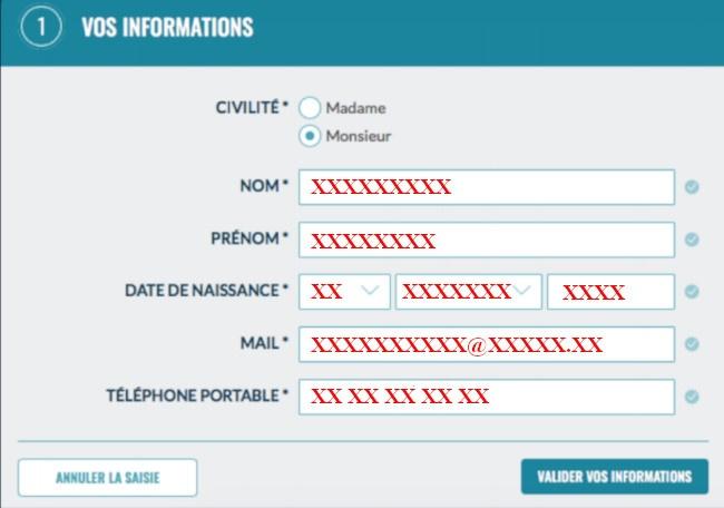 informations personnelles pour creation de compte cbp